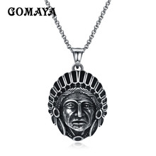 цена на GOMAYA Antique Silver Plated Punk Vintage Rock Maya Figure Religious Mens Pendant Necklace Wholesale Jewelry