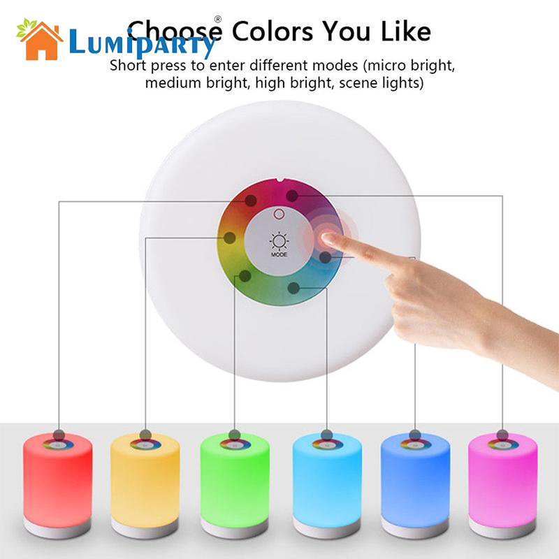 LumiParty LED RGB Light Bedside Table Cylinder Lamp Touch Dimmable Color Changing Night Light Camping Lantern jk30 lumiparty smart bedside lamp touch sensor led night light rgb dimmable atmosphere led lamp intelligent mood nightlight