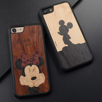 Mickey and Minnie Mouse Splicing retro original cute wood phone case for iPhone 6 s 7 8 plus X wooden cover For Huawei P10 plus