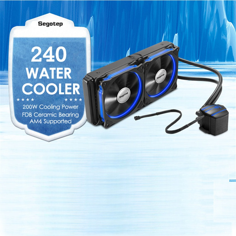 240 CPU Processor Liquid Water Cooling Cooler Double PWM 120mm LED Cooling Fan PC Case For Intel LGA2011/115X/1366/775 &AMD, AM4 pccooler donghai x5 4 pin cooling fan blue led copper computer case cpu cooler fans for intel lga 115x 775 1151 for amd 754