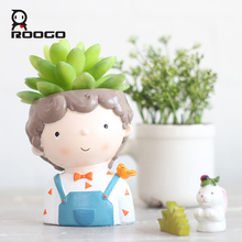 Roogo Curly Boy Flower Pot Mini Modern Plant Pot Garden Cactus Planters For Succulent Pots Office Balcony Decorations Home Decor цена