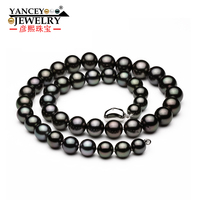 High Quality Natural Real Blace Pearl Necklace for women/girl 8.5 9mm Hot Sales Simple and stylish Fine Natural Black Pearl