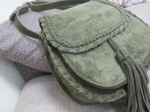 Image 4 - Natural Suede Leather Saddle Bag Women Genuine Leather Casual Messenger Bag Female Leisure Natural Leather Fringe Shoulder Bag