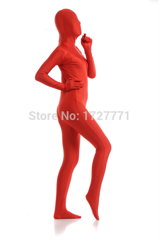 AL933 Red Full Body Shiny Lycra Spandex Tights Unisex Original Zentai Suits Second Skin Fetish Zentai Wear