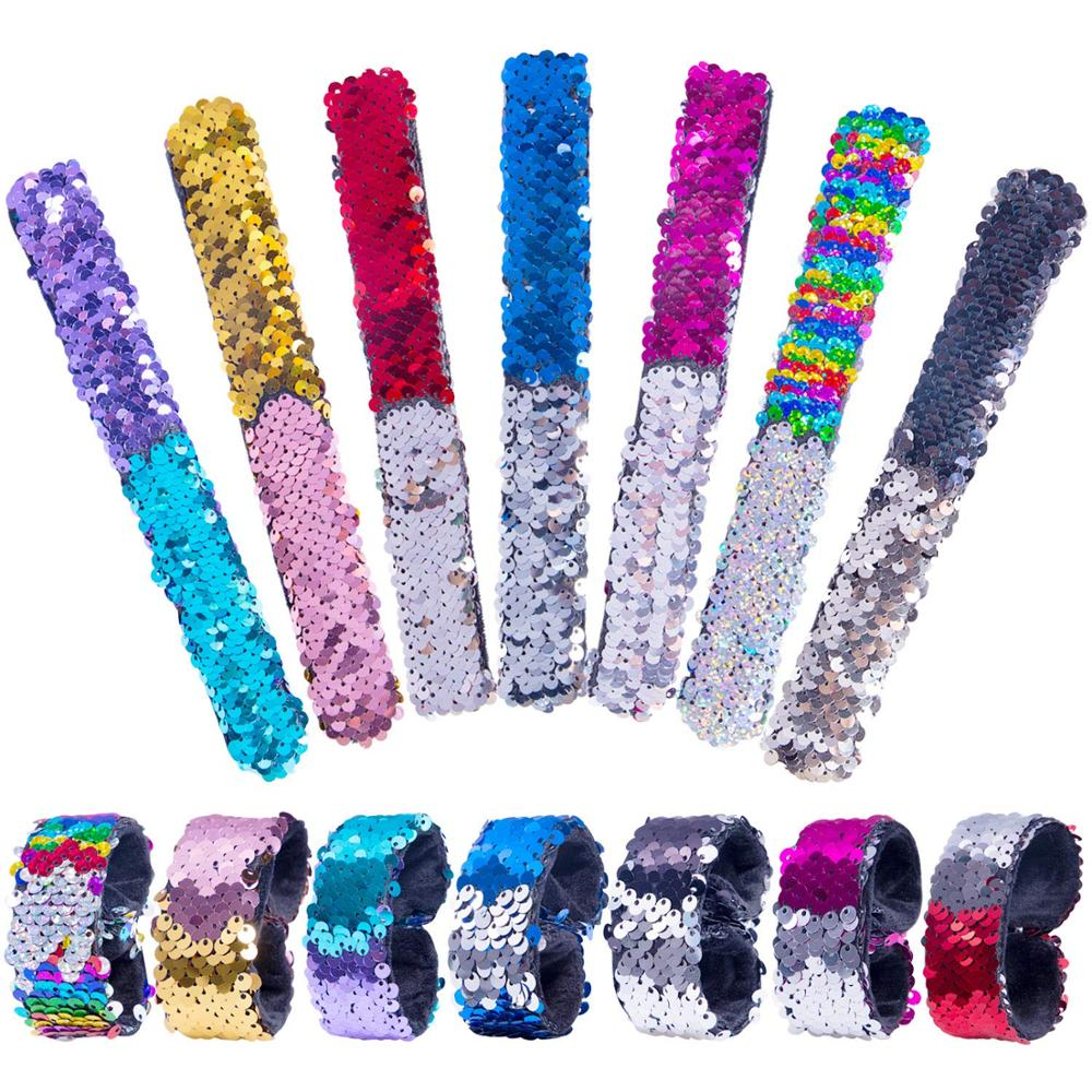 Magic Bracelet Double Color Sequin Slap Bracelet Simple Fashion Magic Trick Kid Party Girl Hair Accessories Wristband Xmas Gift