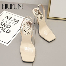 Fashion Square Head Transparent Snake Pattern Womens Sandals High Heels Stiletto NIUFUNI New Simple Casual Sexy Ladies Shoes