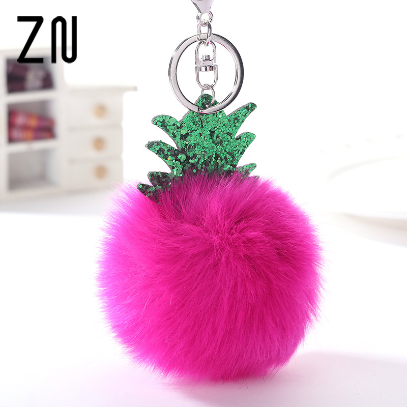 Plush Fur Fluffy Cute Pineapple Keyring Pendant Bag Hanging Accessories Fashion Jewel