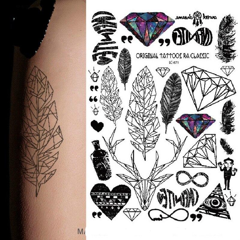 2017 nouveau style Multi style De Mode Cool Tatouage Temporaire avec Plumes  et Diamant 21x15 cm faux tatouages maquillage fille garçon 871 dans  Temporaire