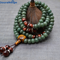 Natural Green Skin Weathering White Skin Bodhi Bracelets Necklace Buddha Prayer Mala Tibetan Style Hand String