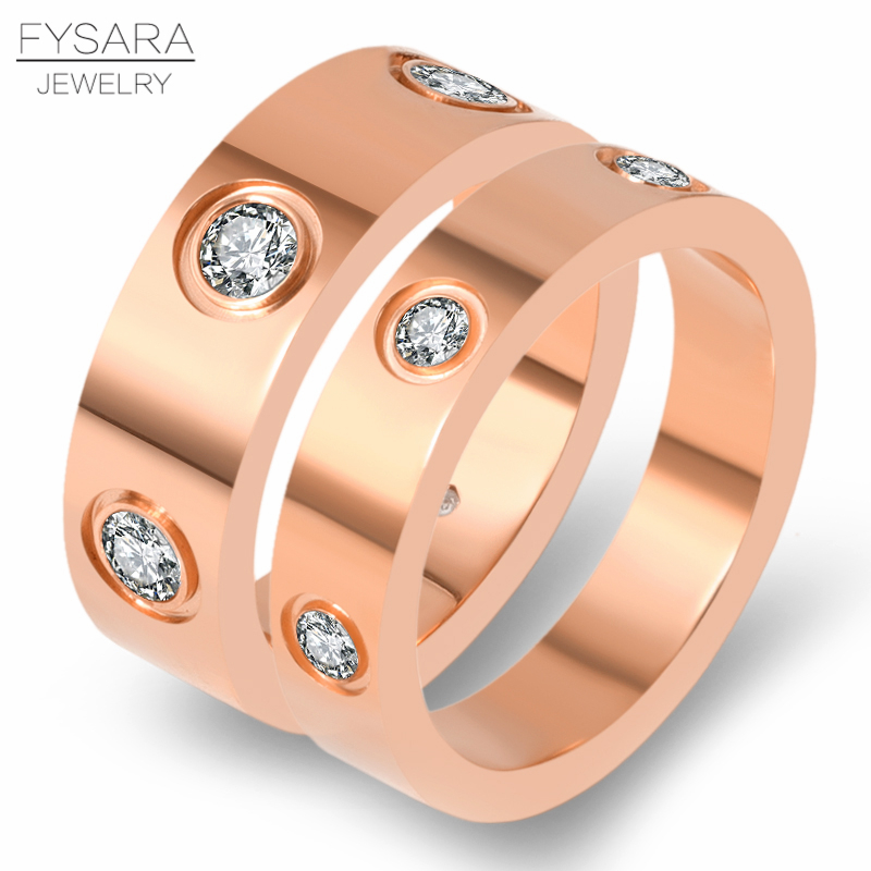 4mm 6mm Classic Love Ring Titanium Steel CZ Crystal Ring Luxury Famous Brand Wedding Ring For Women Gold Color Lovers Jewelry 5