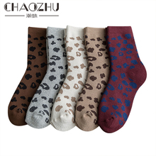 CHAOZHU Women Girls Winter Keep Warm Sleep Pile Terry Thicken Socks Leopard Fashion Style 5 Pairs Mixed Color Gift