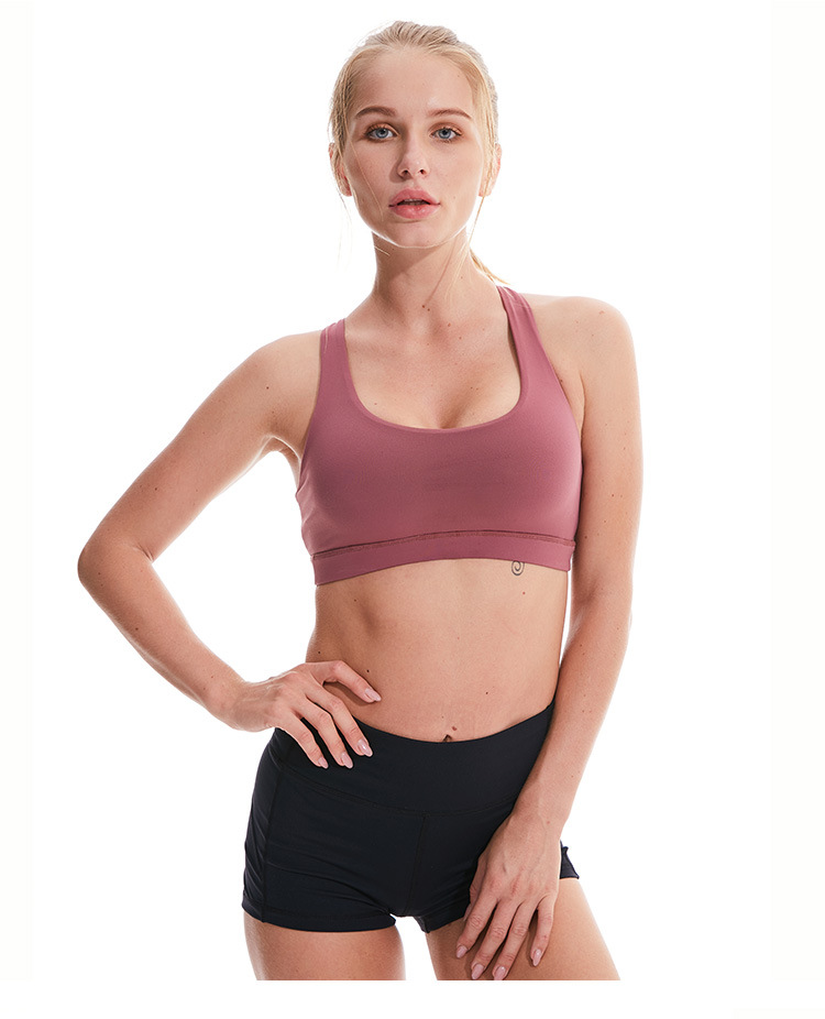 Push Up Gym Fitness Sports Bra Women Activewear Tops Padded Back Cross Strappy Workout Yoga Bra Top Shockproof Running Bra