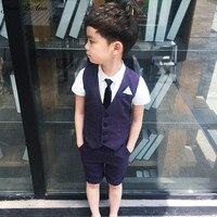 Jane Z Ann Baby Clothes Summer Toddler Boys Clothing 2 Colors Vest Shorts T Shirt Children