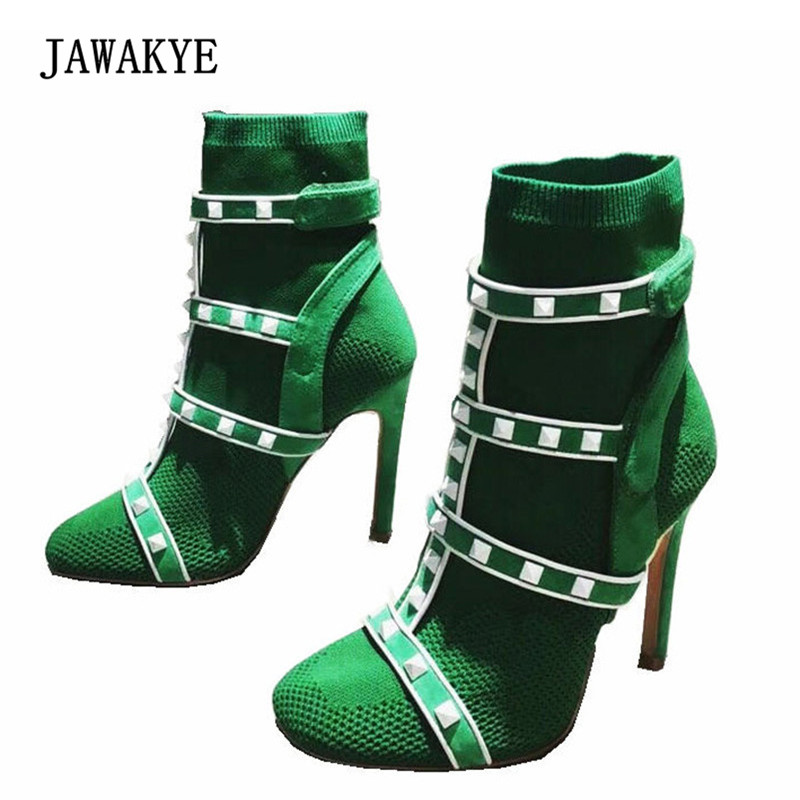 Newest Spring Stretch Knit Sock Boots Woman Round Toe Rivet Patchwork Ankle Strap High Heel Boots Women Sexy Ankle Boot