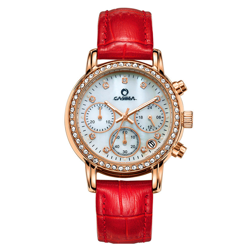Red/White Women Quartz Watch Cow Leather Strap Luminous Crystal Dial Clock Wristwatch Lady Casual Watches TT@88 matisse lady austria full crystal dial