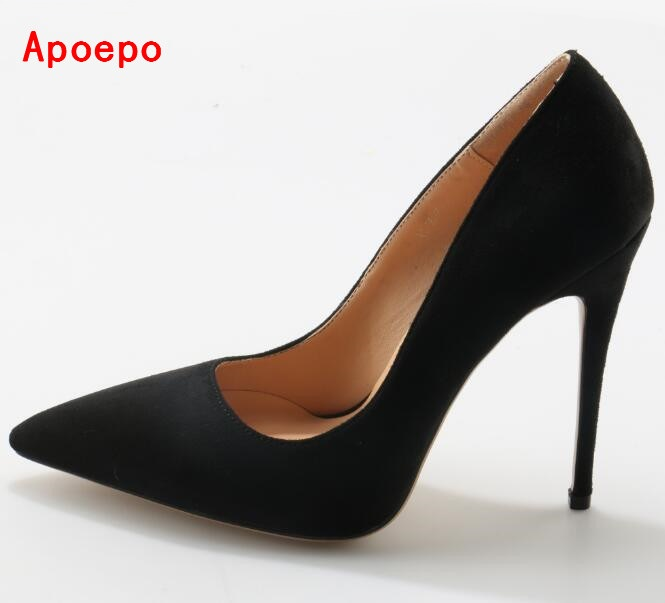 2017 Hot Selling Suede High Heel Shoes Sexy Pointed toe Woman Pumps Slip-on Wedding Heels Vintage Stiletto Heels Black Red 2017 spring autumn women pumps sexy pointed toe suede ladies shoes big size 32 43 slip on thick heel red wedding high heels