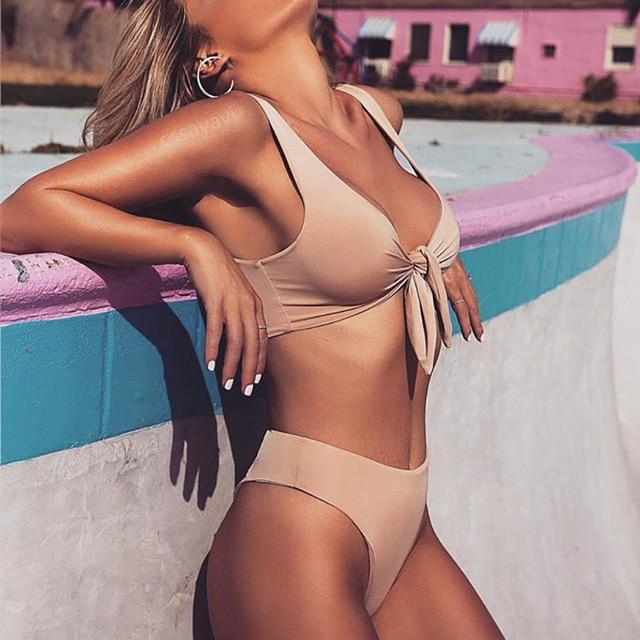 92e43ed2e0c9a Sexy Push Up Bikinis Women Swimwear 2018 Bow Tie Bikini Set Pink Swimsuit  Halter Bathing Suit Biquini Beachwear Maillot De Bain