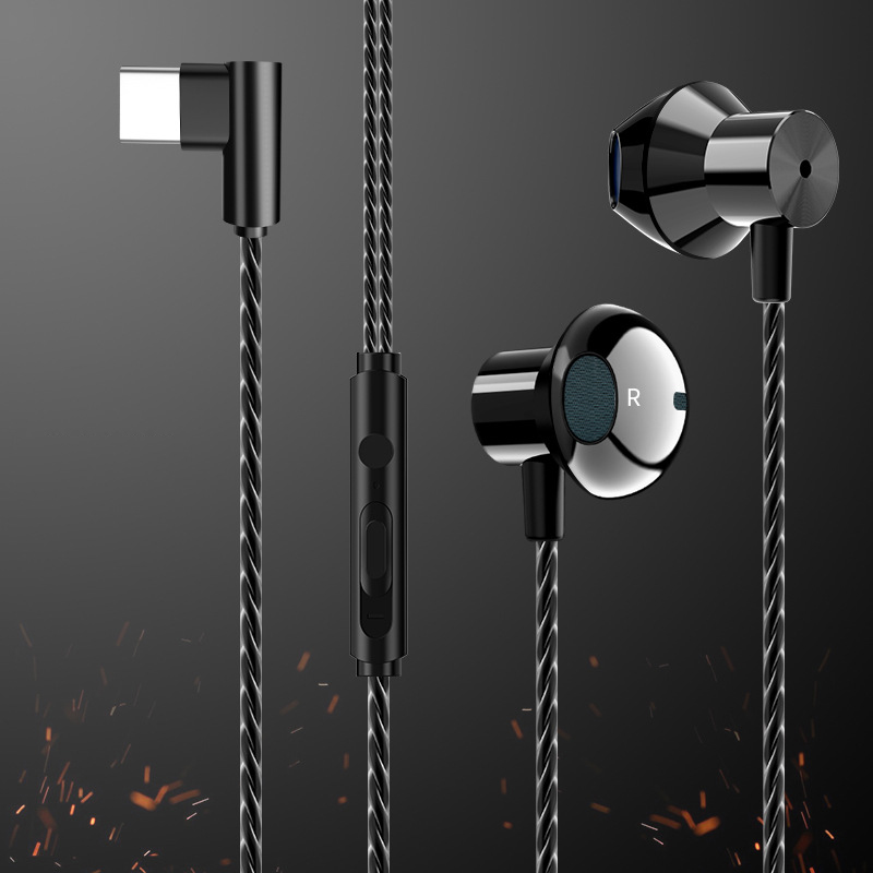 HiFi USB-C Earbuds In-ear Dynamic Drive Type C <font><b>Earphone</b></font> Bass Metal Sport Gaming Headset with Mic for Oneplus <font><b>Xiaomi</b></font> Huawei P30 image