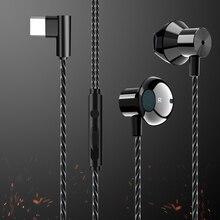 HiFi USB אוזניות ב אוזן דינמי כונן סוג C אוזניות בס מתכת ספורט משחקי אוזניות עם מיקרופון עבור Oneplus xiaomi Huawei P30 פרו
