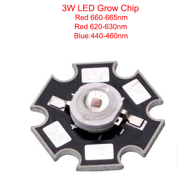 все цены на 10pcs 3W 45mil led grow Chip Deep Red 655-660nm 620-630nm Royal Blue 440-460nm LED diodes plant grow Light Lamp With 20mm онлайн
