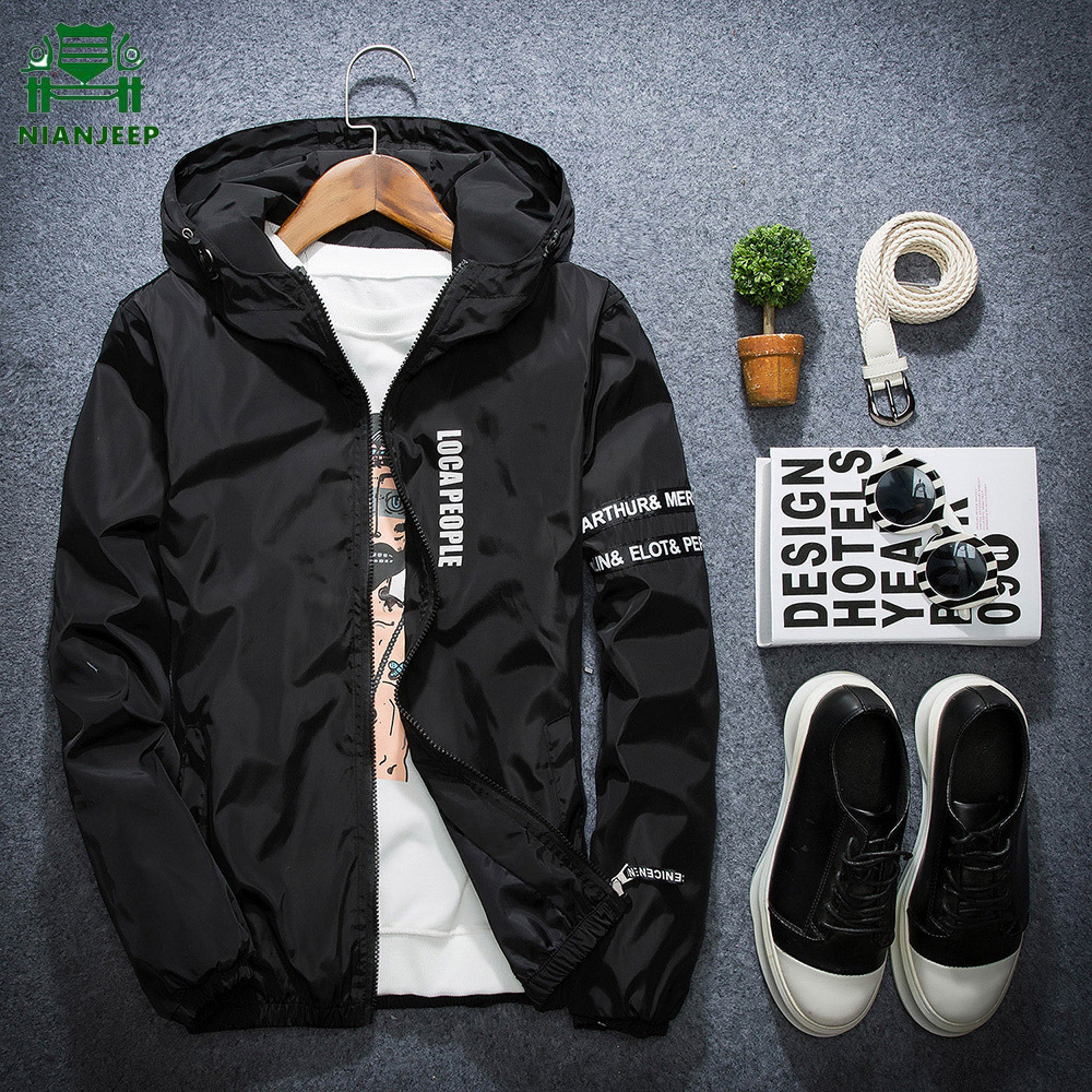 Windbreaker Jacket Jaqueta Hooded Autumn Plus-Size NIANJEEP Slim-Fit Young Masculina