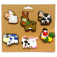 6PCS LOT Cartoon Animal Fridge Magnets Promotion Gifts Home Decorations PVC Soft Rubber Crafts Customized Logo