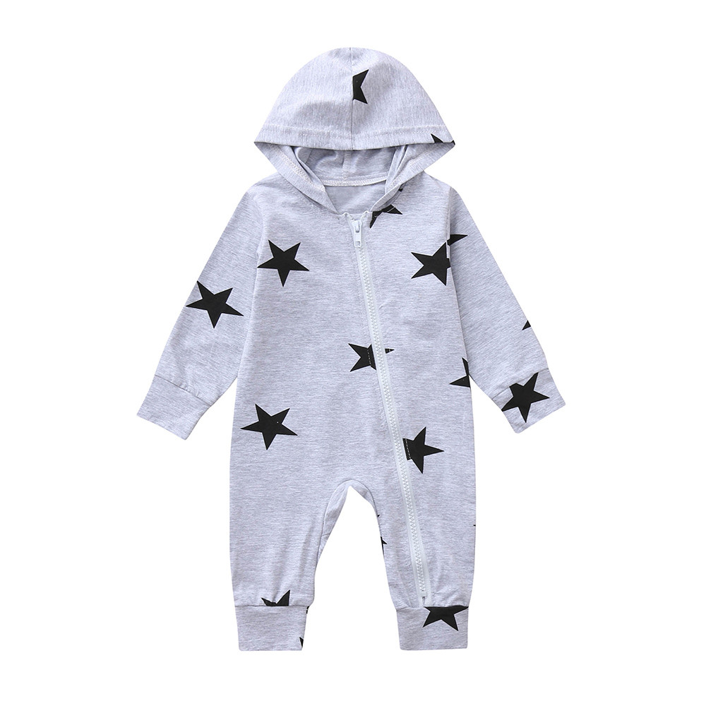HTB1OmpGaiYrK1Rjy0Fdq6ACvVXal Newborn Infant Baby Girls Boys Stars Print Hooded Zipper Romper Jumpsuit Outfits Spring Brand New Fashion Newborn Jumpsuits