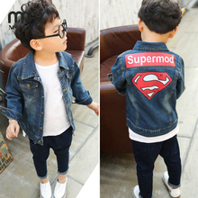 MMIW 2017 High Quality Baby Jacket For Boys Girls Kids  Superman Printed Children Jeans Cool Outerwear Packed Clothing Jacket