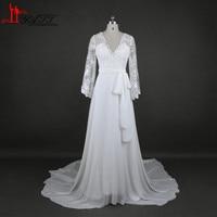 Charming Chiffon Lace Bohemian Wedding Dress 2016 A Line Plunging V Neck Long Sleeve Vintage Boho