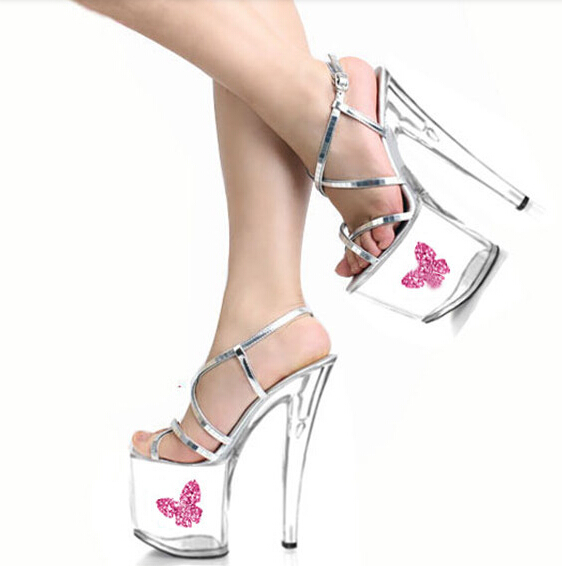 The Hong Kong and Taiwan star silver transparent 20 cm tall color performance dance shoes, high heel sandals high performance and high throughput bioinformatics