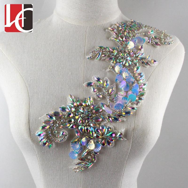 New Design Rhinestone Handmade Beaded Lace Flower Applique