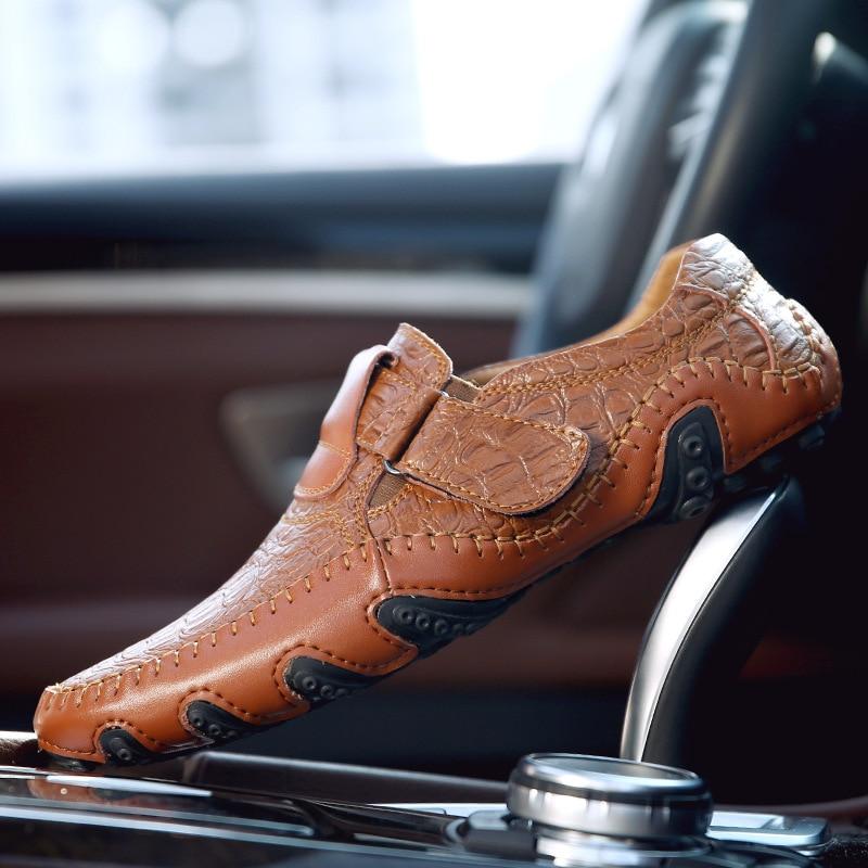Condução 2a Respirável Flats Moda Mocassins Barco De Sapatos Marca marrom Casuais Masculinos Mocassim Clássico Couro Homens Preto Macio 8x6ZwU