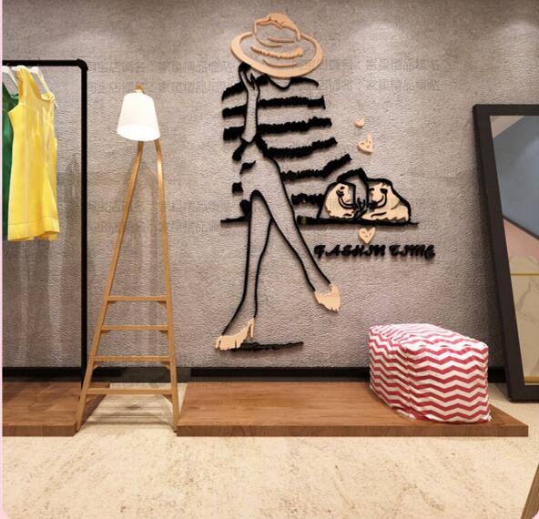 DIY 3D não-tóxico acrílico loja de roupas de Moda menina adesivos de parede decoração da parede adesivos decoração da sua casa