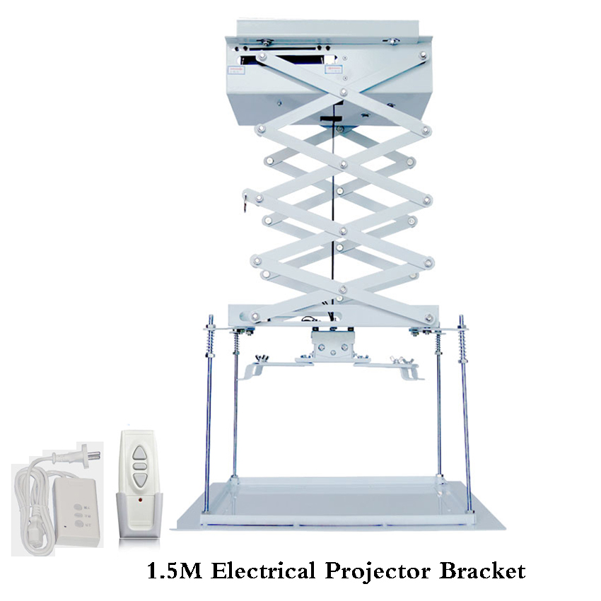 1set 1.5meter motorized electric lift scissors ceiling projector mount bracket elevator projector remote control