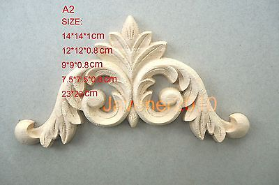 A2-12x12x0.8cm Wood Carved Corner Onlay Applique Unpainted Frame Door Decal Working Carpenter Flower