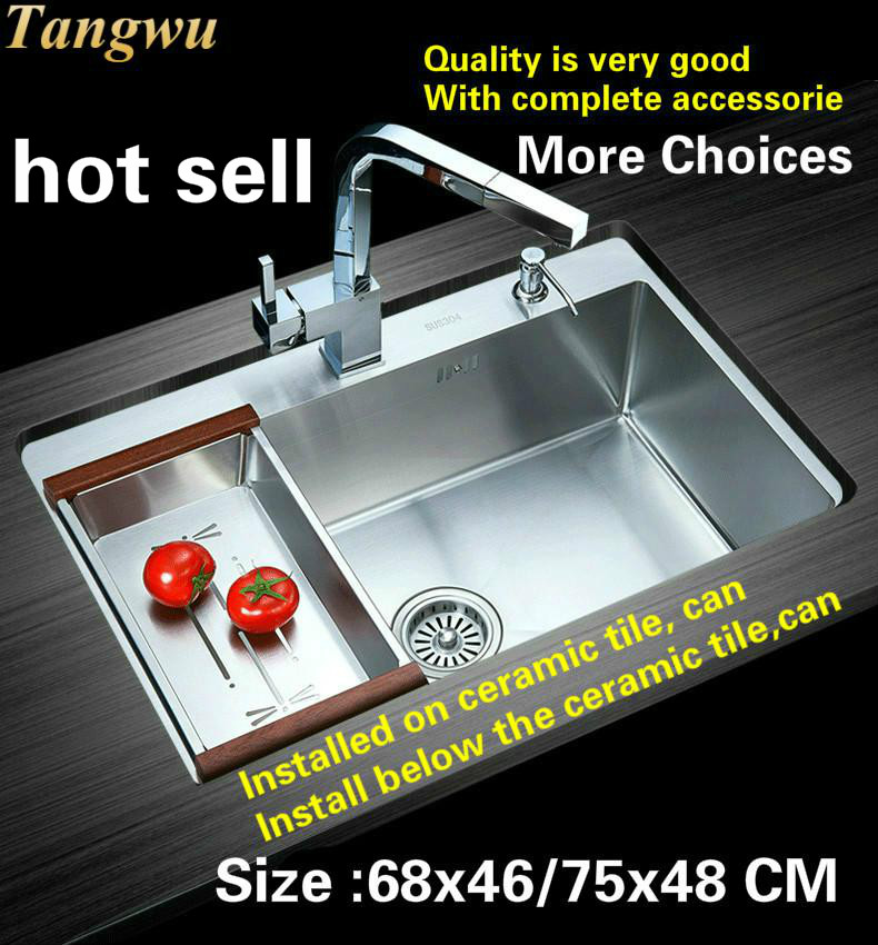Free Shipping Household Kitchen Manual Sink Single Trough Standard Food Grade 304 Stainless Steel Hot Sell  680x460/750x480 MM