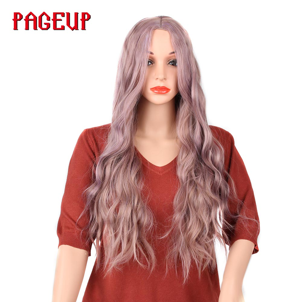 Pageup Long Wavy Mix Purple Synthetic Wig Cosplay Blonde Pink Heat Resistant Kinky Curly Afro Wigs With Bangs For Black Woman