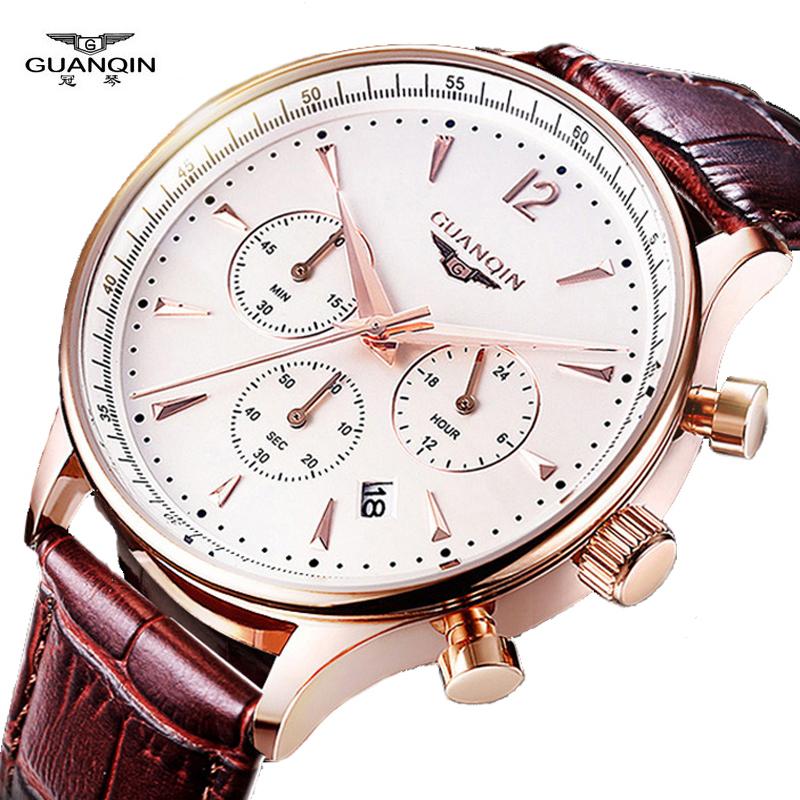 Prix pour Montres hommes de luxe d'origine marque guanqin sport montres hommes mode montre-bracelet chronographe étanche mâle montre à quartz en cuir