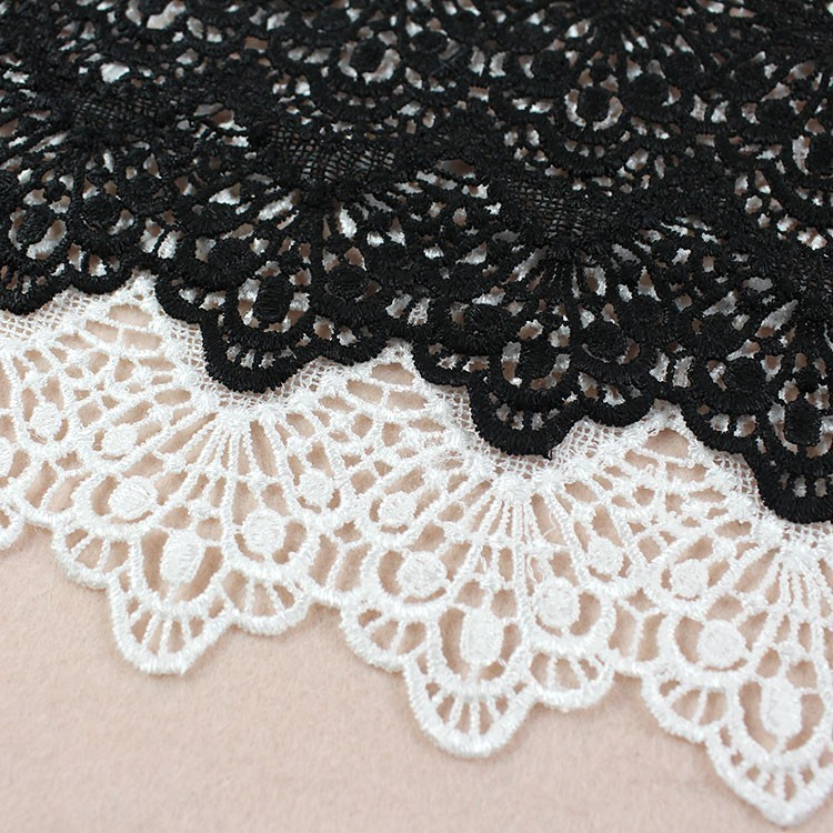 19cm Fine Black White Cotton Water Soluble Tulle Lace Fabric Ribbon Trim Collar Sewing DIY Applique Fringe Tassel Guipure Decor in Lace from Home Garden
