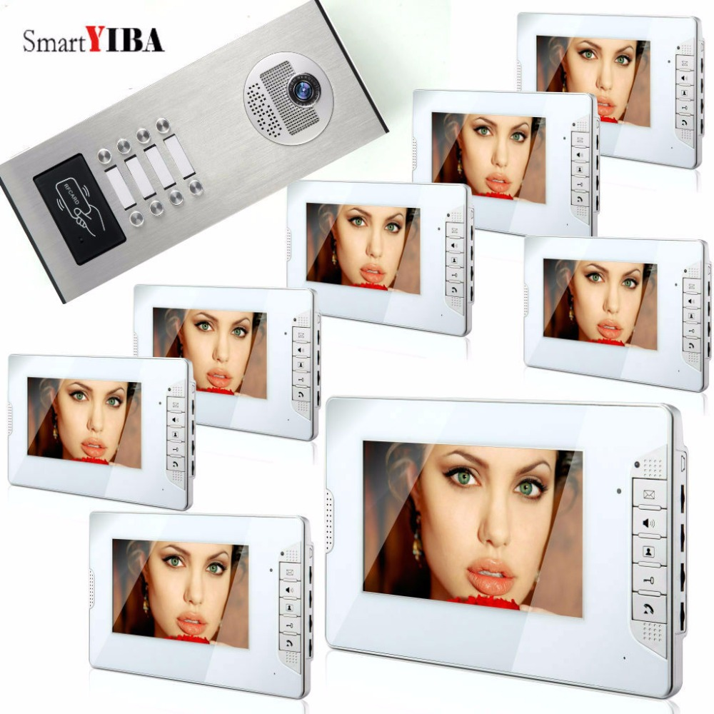 SmartYIBA Video Intercom 7 Inch Monitor Video Door Phone Doorbell Kit Night Vision RFID Access Doorbell Camera For 8 Apartment 7 inch video doorbell tft lcd hd screen wired video doorphone for villa one monitor with one metal outdoor unit night vision