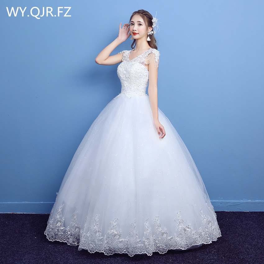 LYG-D10#Round Collar Lace Up Sequins Long Bridesmaid Dresses Wedding Party Dress 2019 Custom Plus Size Wholesale Cheap Gown Prom