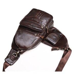 Image 3 - 男性革の牛革レトロ有名なブランドの高品質旅行メッセンジャーショルダー日パック胸バッグ新 2019