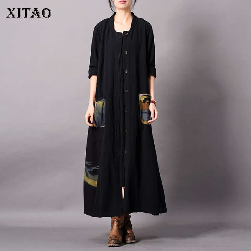 [XITAO] New Women Original National Style Wide-waisted Single Breasted O-neck Full Sleeve Long Pocket Patchwork   Trench   LYH3301