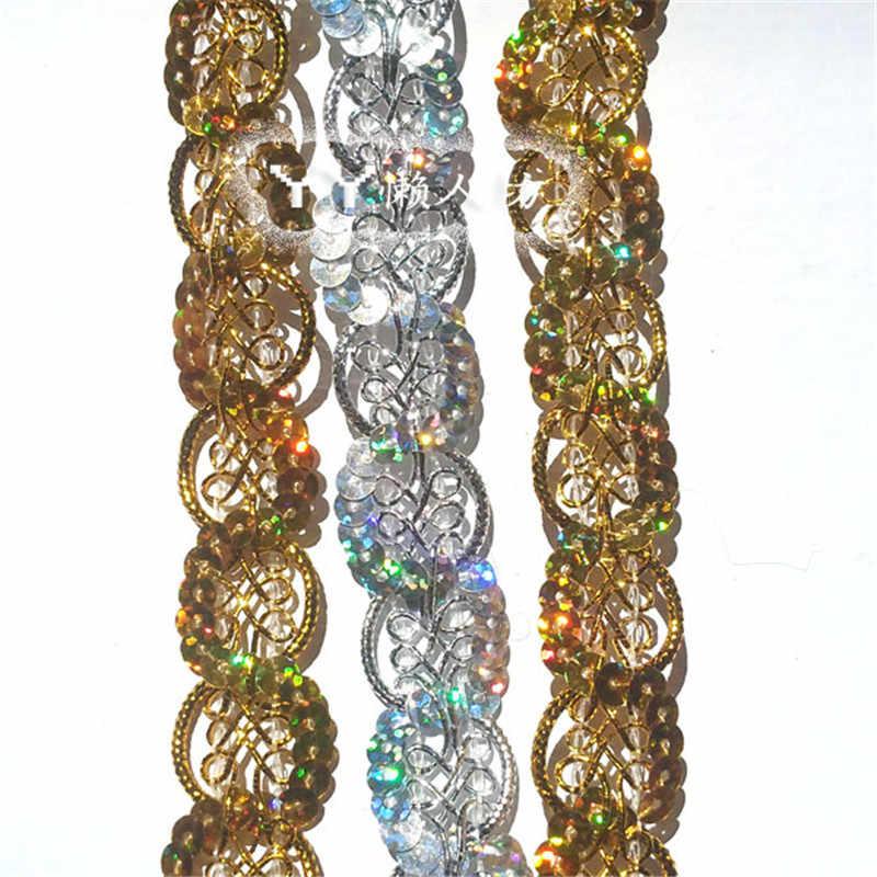 Envío Gratis 20 metros trenzados de oro/plata hermosa lentejuelas Flor de Venecia Apliques de encaje costura adornos Ribbo artesanía LJ0053