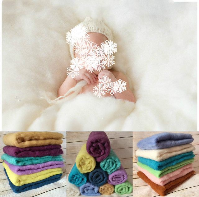 100% Wool Blanket Newborn Photography Props Basket Stuffer Blanket Baby Photo Prop Backdrop Posing Carpet Satin 60*60CM