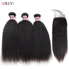Yaki Straight Human Hair Bundles with Closure Brazilian Hair Weave 3 Bundles with Lace Closure Lolly Hair Extensions Non Remy