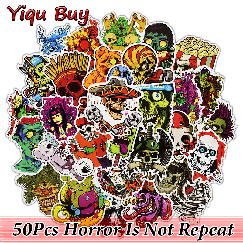 50 Pcs Horror Stickers for Laptop Motorcycle Car Styling Luggage Bike Accessories Vinyl Decals Terror Waterproof