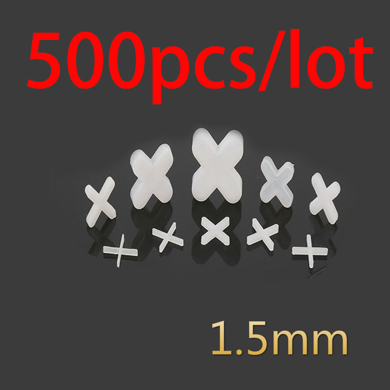500pcs Tile Spacer Cross Plastic 1.5mm Tiling Ceramic Tilers Plumbers White Cross Clips Tile Leveling System