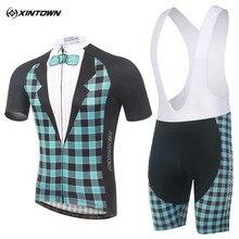 Xintown 2017 verano a cuadros de secado rápido ciclismo jersey set desgaste de la bicicleta de montaña bicicleta de carreras ropa ropa conjunto ciclismo