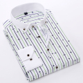 Summer 2017 Young Men's Striped/Checkered Plaid Dress Shirts Slim-fit Light-weight/Thin Print Long Sleeve Button Down Shirt